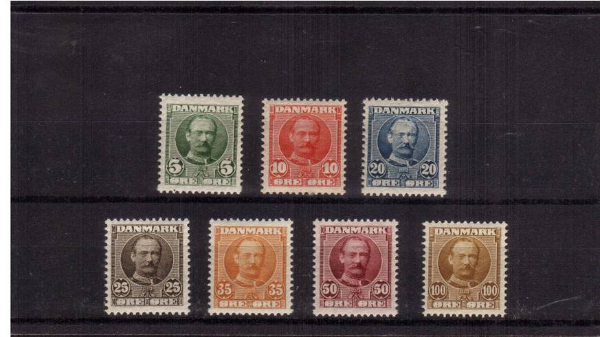 The King Frederik VIII complete set of seven all superb unmounted mint.<br/>A stunning fine and fresh set!