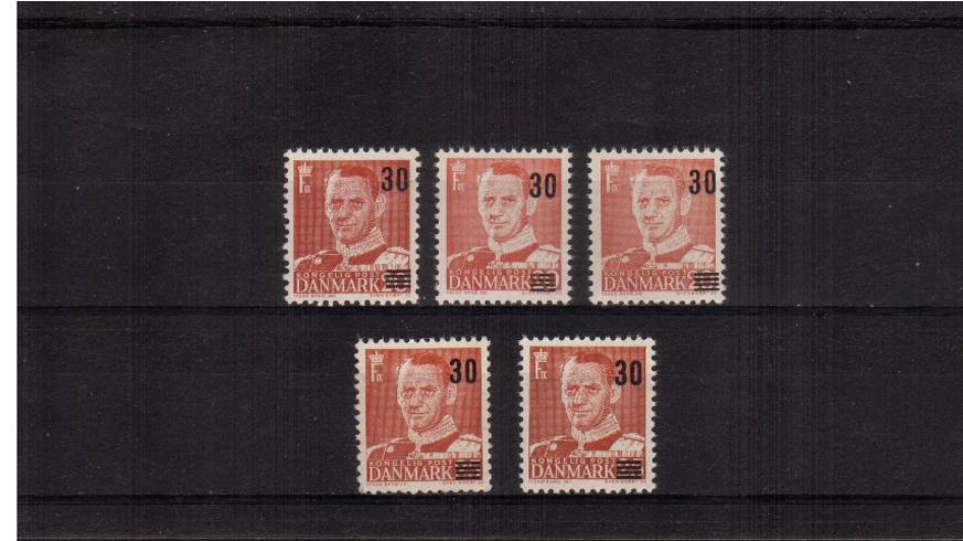 30or on 20or Red. The complete set of five as per specialist catalogue.<br/>Top row 1955 Type I, II, and III.<br/>Bottom row 1956 Type I and II all superb unmounted mint as per Lightouse album.