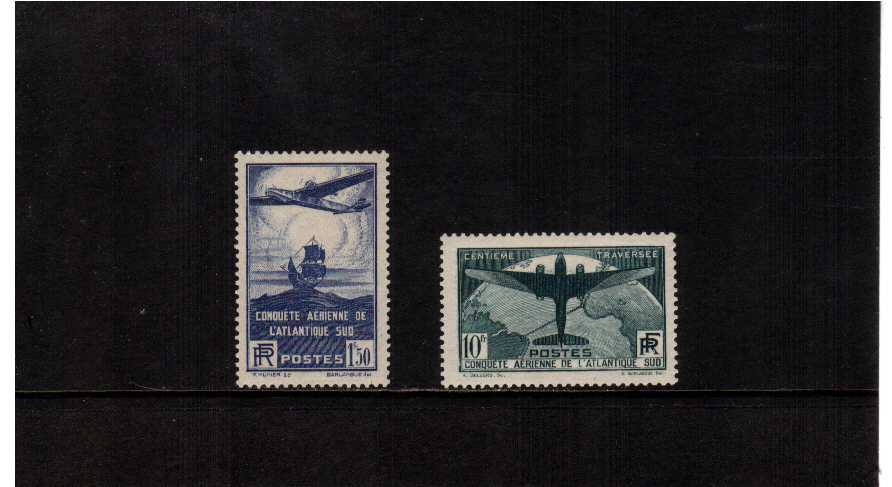 100th Flight between France and South America set of two superb lightly mounted mint SG Cat �9