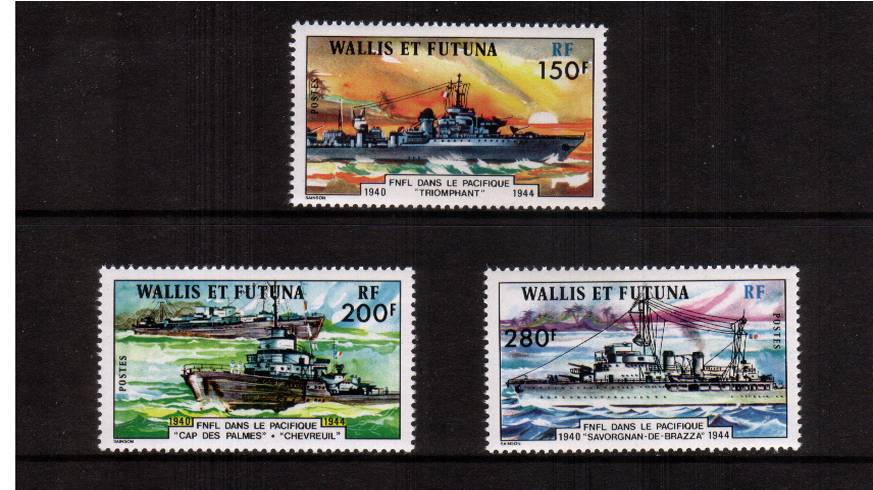 Free French Pacific Naval Force<br/>A superb unmounted mint set of three. SG Cat �