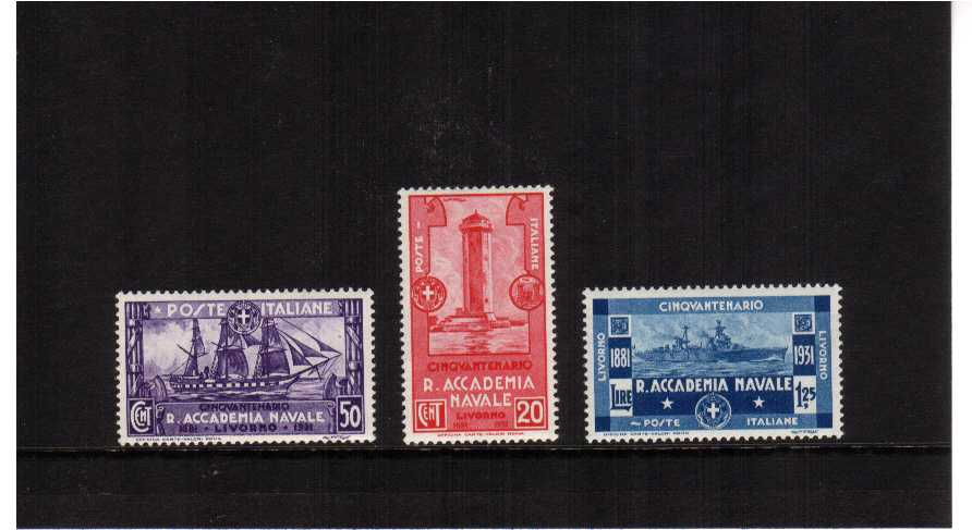 50th anniversary of Naval Academy<br/>A superb unmounted mint set of three. Scarce set unmounted.