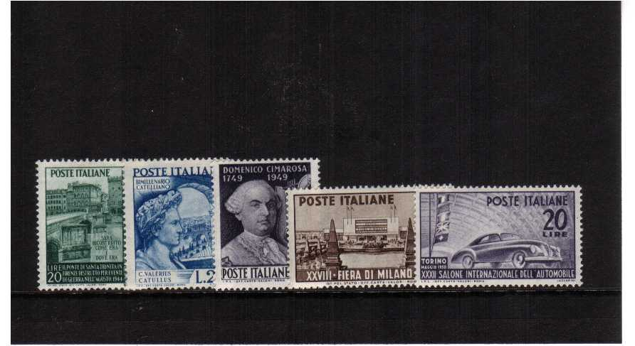 A run of lightly mounted single stamp issues from 1949 showing Holy Trinty Bridge, poet, Music Composer Cimarosa, Milan Fair and Car Exhibition SG Cat �.75