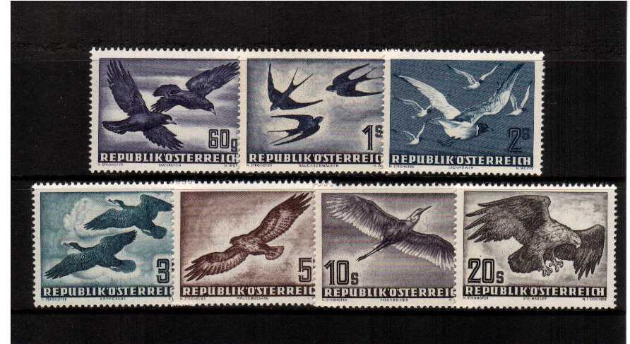 The classic Austria BIRDS set of seven in superb unmounted mint condition.<br/>SG Catatalogue  �5