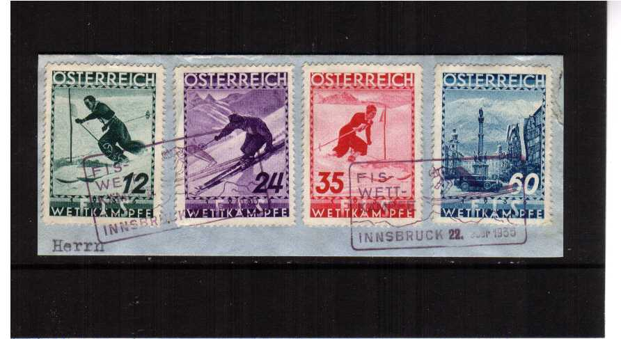 Ski Championship set of four superb fine used tied to a small piece with the special commemorative cancel dated 22 Feb 1936. SG Cat �