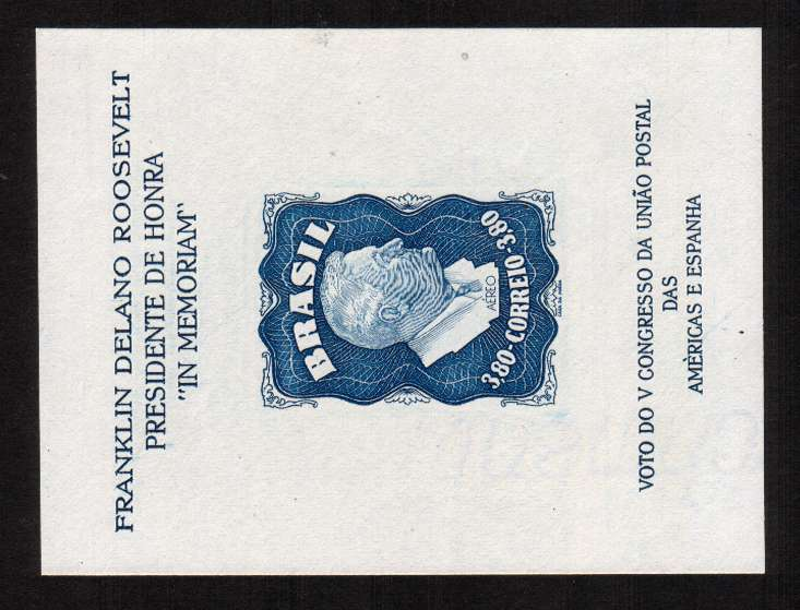 Homage to Franklin D. Roosevelt minisheet. The scarcer watermarked version with no gum as issued. SG Cat �