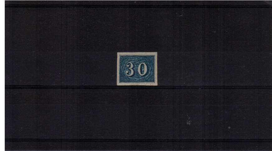30r Blue. A lovely four jumbo margined stamp in lightly mounted mint condition. SG Cat �