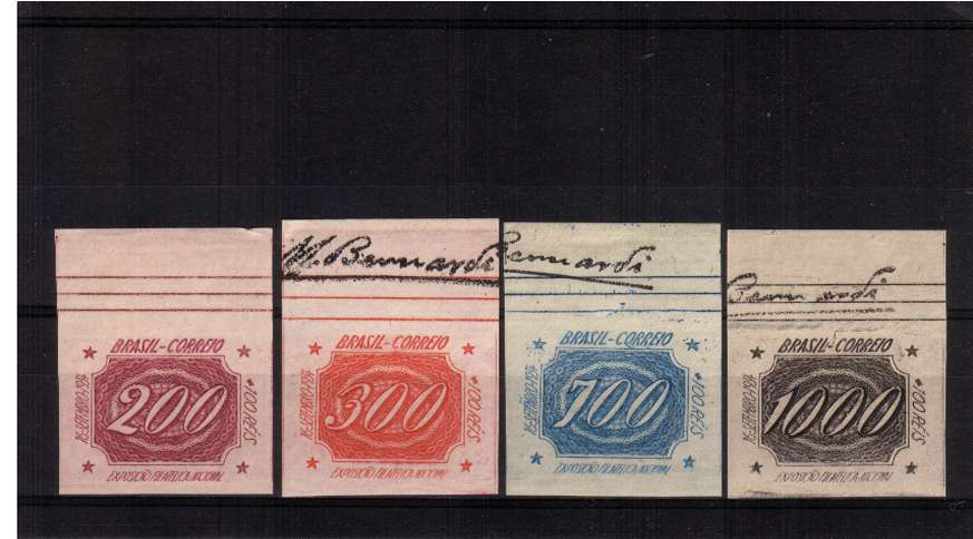 National Philatelic Exhibition - Rio. Superb unmounted mint top marginal imperforate singles. Very pretty!