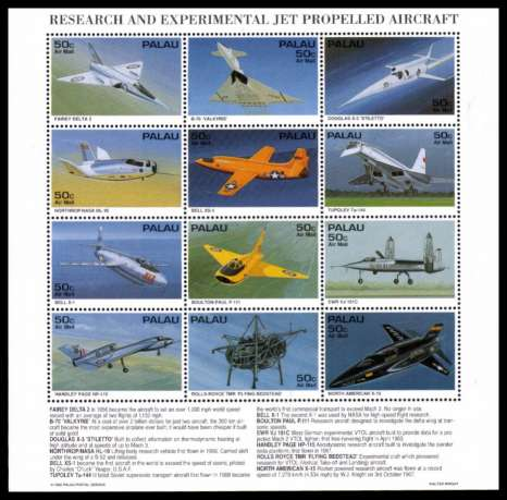Research and Experimental Jet Propelled Aircraft sheetlet of twelve superb unmounted mint.
