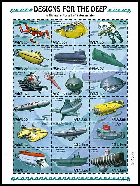 Submersible - Designs for the Deep - Submarines etc sheetlet of eighteen superb unmounted mint.