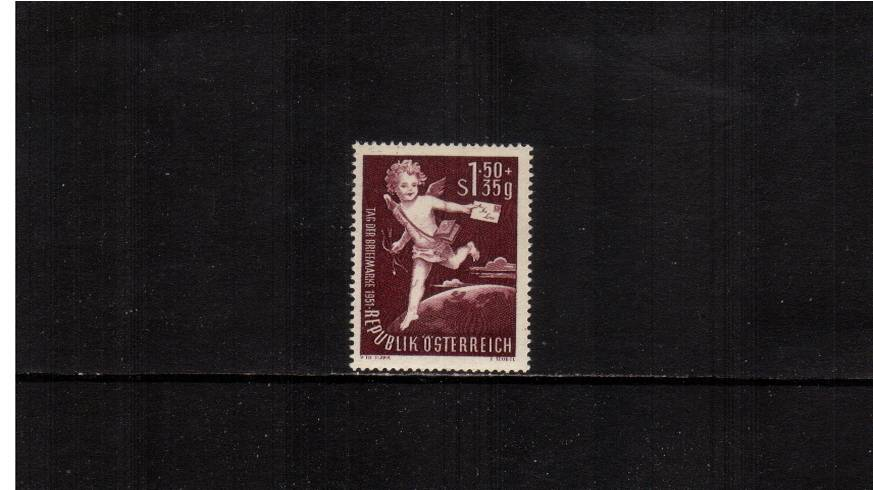 Stamp Day - Cupid and Letter<br/>A superb unmounted mint single.