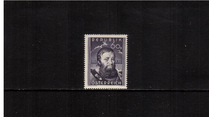 140th Death Anniversary of Andreas Hofer - Patriot.<br/>A superb unmounted mint single.