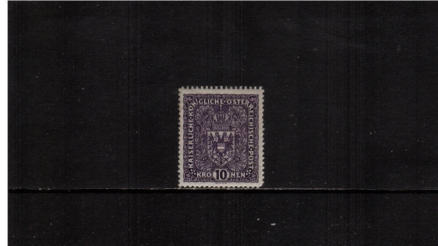 10K Deep Violet - Ordinary Paper.<br/>A fine very lightly mounted mint single with a mere trace of a hinge.