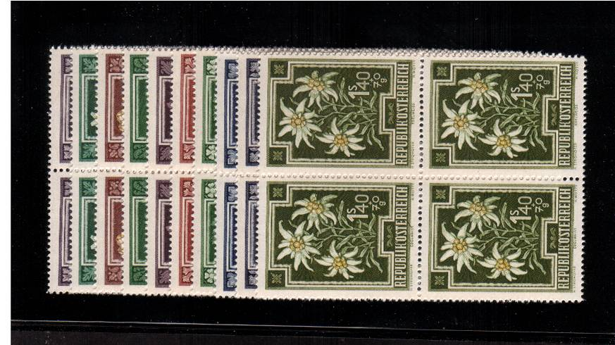 Anti-Tuberculosis Fund - Flowers set of ten<br/>in superb unmounted mint blocks of four.