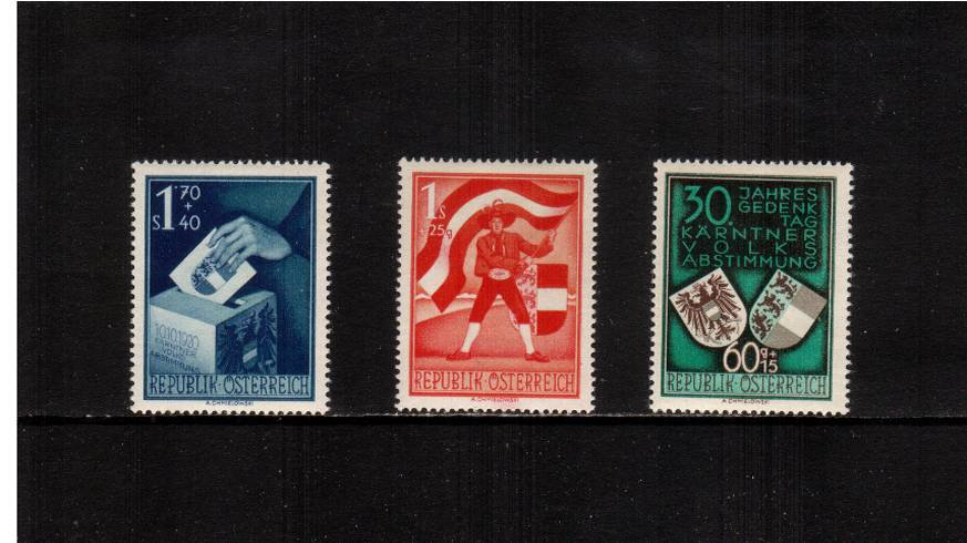 30th Anniversary of Carinthian Plebiscite.<br/>A very lightly mounted mint set of three.