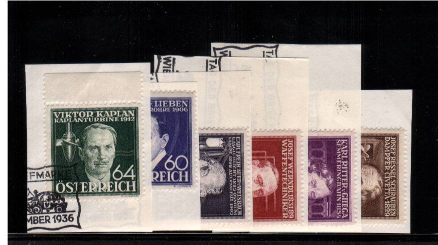 Welfare Funds - Austrian Inventors<br/>A superb fine used set of six each tied to small piece<br/>(ex First Day Cover) tied with the special WIEN handstamp.